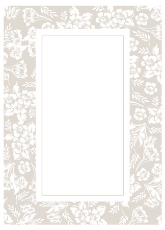 dashes: Decoration border frame with floral elements.