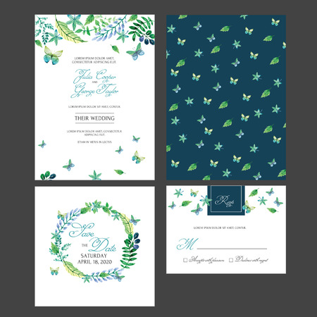 Wedding Invitation Card Invitation with watercolor flowers