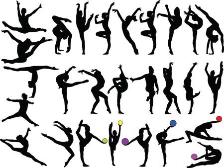 gran colección de la gimnasia las niñas - de vectores