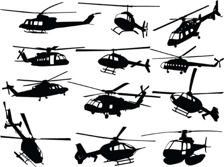 vehicle combat: big collection of helicopters - vector Illustration