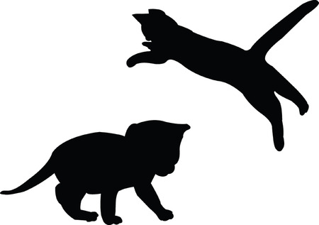 baby cat silhouette - vector Vector