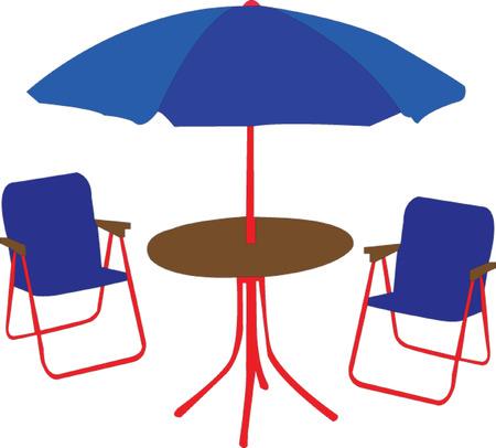 beach chair, table and umbrella - vector Vector