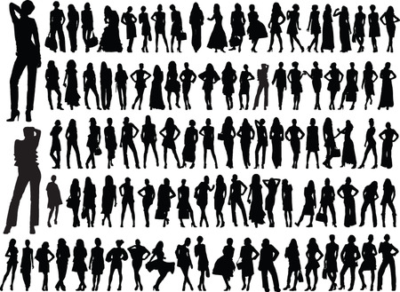big collection of girls - vector Vector