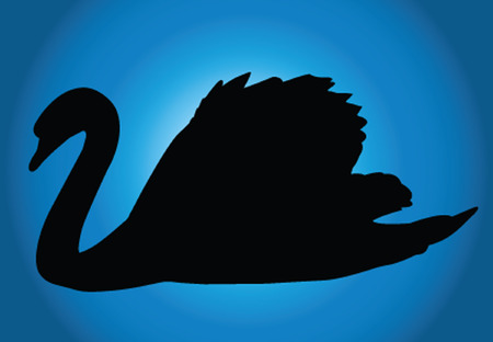stylistic embellishments: swan with background - vector