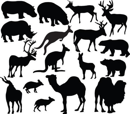 wild animals silhouette - vector Vector