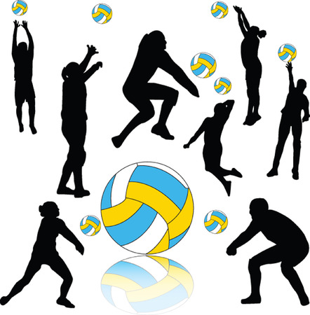 volleyball players collection silhouette - vector     Vector