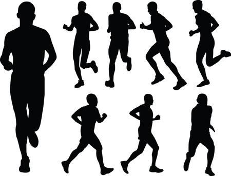 dexterity:  running people silhouette collection - vector Illustration
