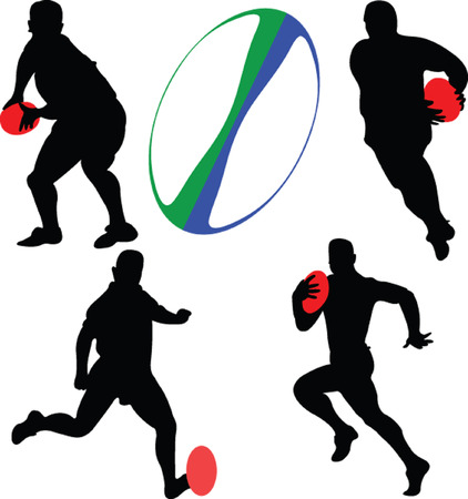 pelota rugby: jugadores de rugby en bolas - vector Vectores