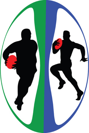 rugby team: rugby players in ball - vector Illustration