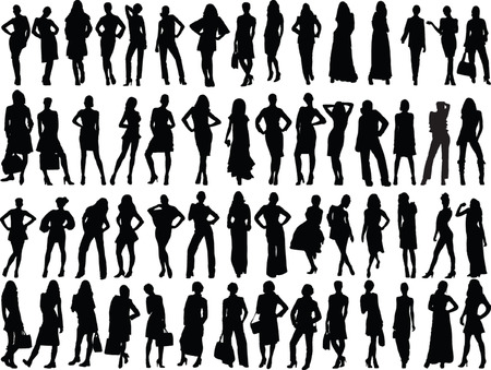 girls silhouette collection - vector Vector