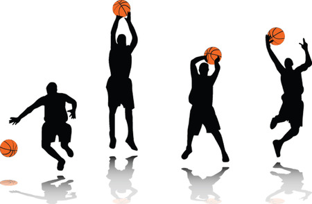 basketball players silhouette - vector Illustration