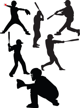 catcher: colecci�n de b�isbol - vector
