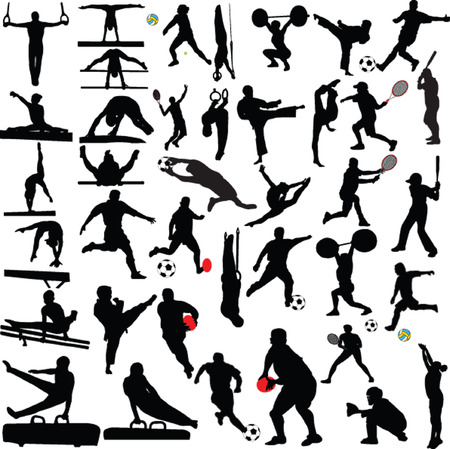 big sport collection silhouette - vector