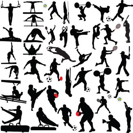 gran colección deportiva silueta - vector Ilustración de vector