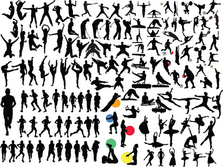aerobics: big collection of people in different sport - vector