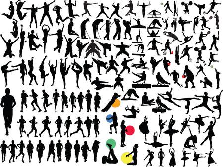 gimnasia aerobica: gran colecci�n de diferentes personas en el deporte - vector
