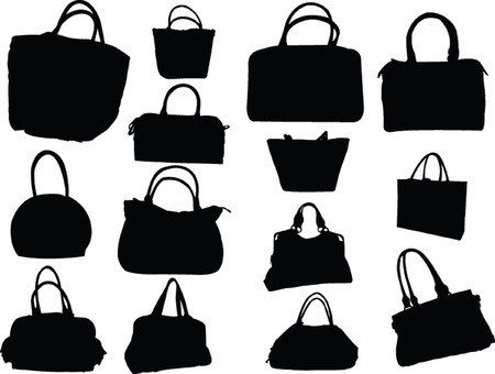 big collection of purses - vector Vector