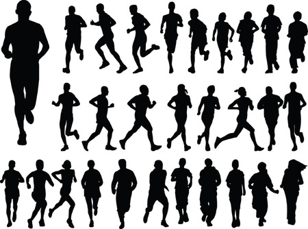 silhouettes of children:  running people collection - vector