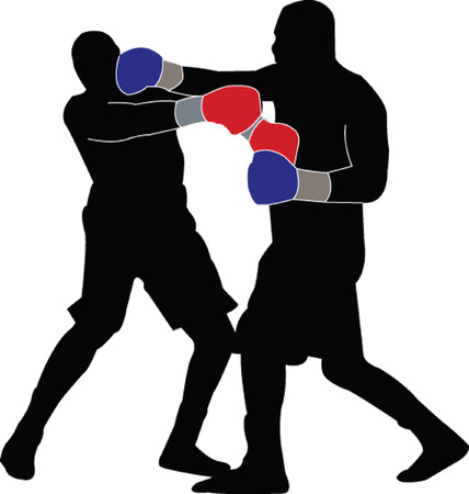 boxing match:  boxing match silhouette 1 - vector