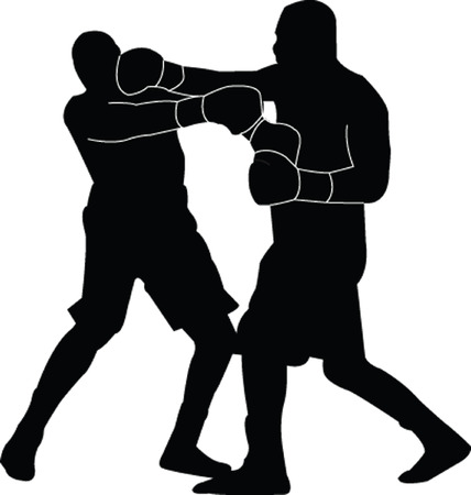 knocking: boxing match silhouette - vector