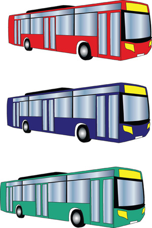 bus collection in different color - vector Vector