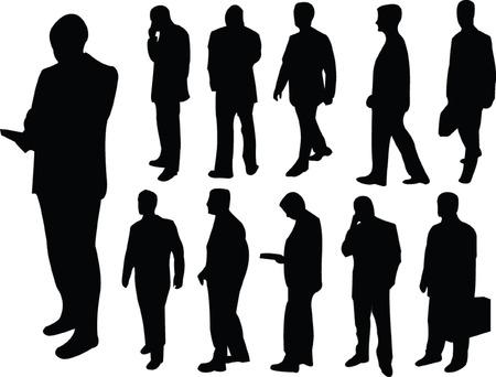 businessmen collection silhouette - vector Vector