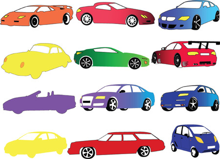 car collection in different color - vector Vector
