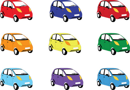 motorway:  car in different color - vector Illustration