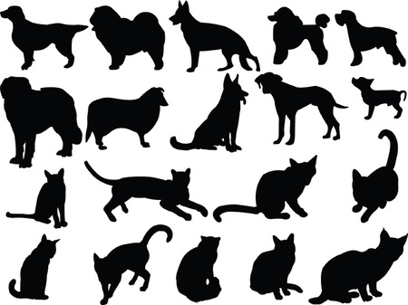 cat sleeping: cats and dogs silhouette collection - vector