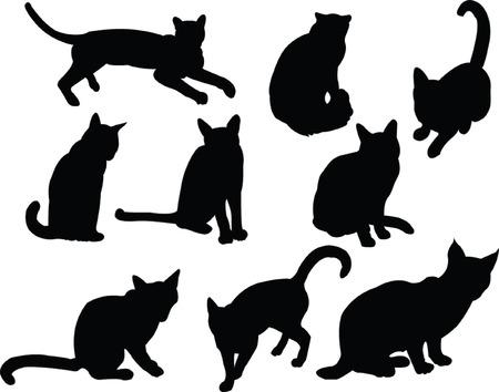 cats silhouette collection - vector Ilustração