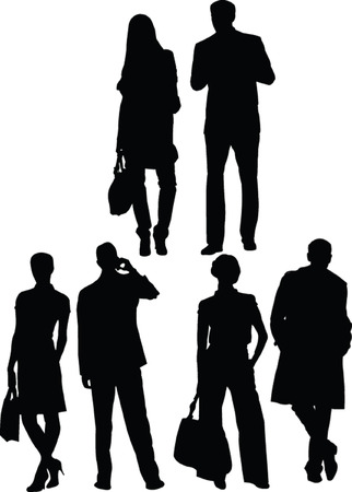 business people silhouette - vector Vector
