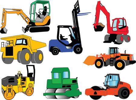 escavadeira: collection of construction machine - vector
