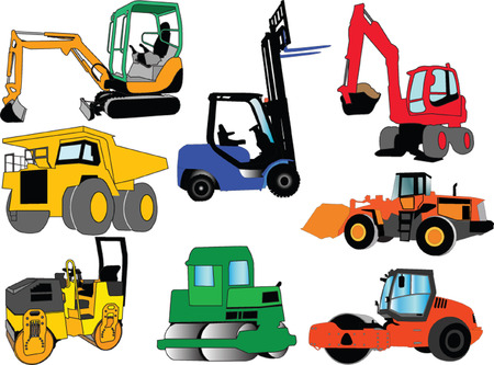 vector sign under construction: collection of construction machine - vector