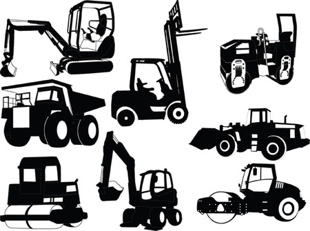 loaders: collection of construction machine - vector