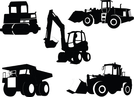 skid:  construction machines collection - vector