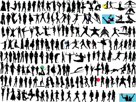 different people silhouette collection - vector Illustration
