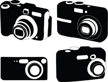 spy camera: digital photo camera collection - vector Illustration