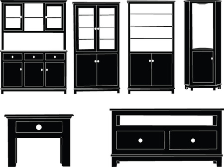 cupboard: dressers collection - vector Illustration