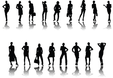 girls fashion with shadow - vector Stock Vector - 5108430