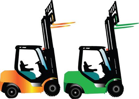 fork lifts trucks: fork truck silhouette - vector