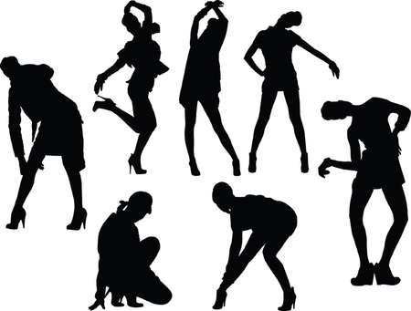 girls in funny poses silhouette collection - vector Vector