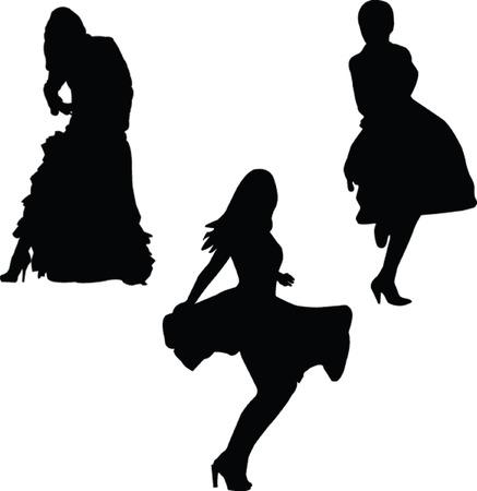 sexes: girls in beauty dress - vector Illustration