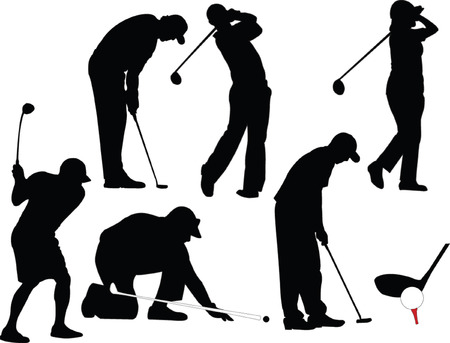 swings: golf players in different position - vector Illustration