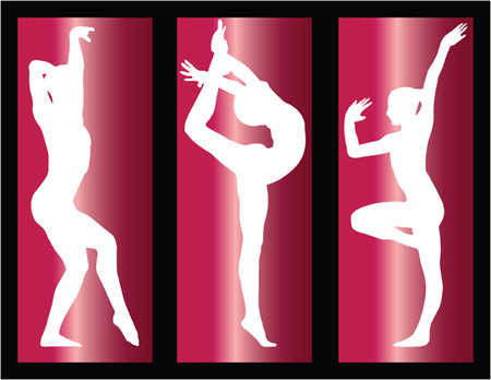 creative strength: gymnastics girls on background - vector