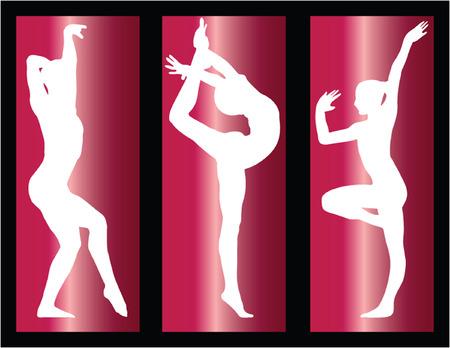 rhythmic gymnastics: las niñas de gimnasia sobre fondo - vectoriales