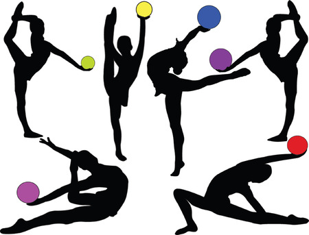 coordination: gymnastic girls with ball - vector