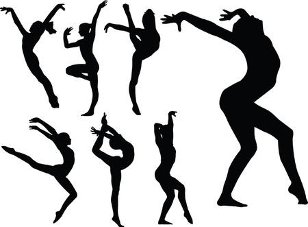 gimnasia: gimnasia las ni�as silueta colecci�n - vector
