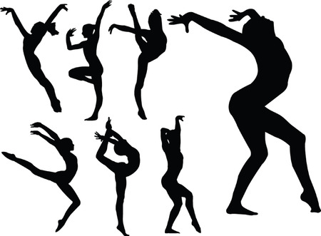 creative strength: gymnastics girls silhouette collection - vector