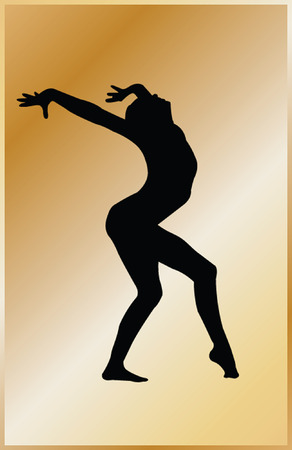 gymnastics girl with background - vector Vector