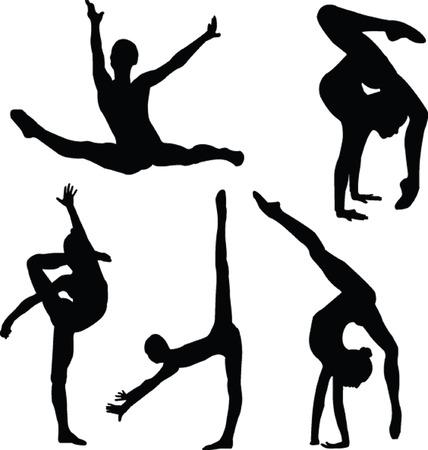 gimnastas: gimnasia ni�a silueta colecci�n - vector